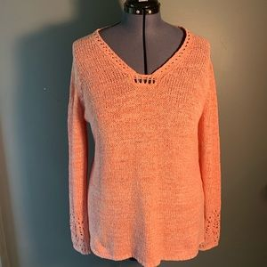 Chico's Loose Knit Sweater Square V-Neck Pink